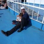 io e carlo sulla nave per la Corsica
